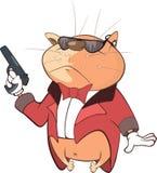 Cat Secret Agent Cartoon bonito Imagem de Stock Royalty Free