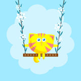 Cat on seesaw with flowers Stock Photo