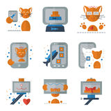 Cat selfie flat colored icons Royalty Free Stock Image