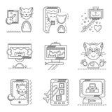 Cat selfie flat line icons Stock Photos