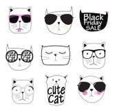 Cat Set Vector Illustration Handdrawn linda Fotografía de archivo libre de regalías
