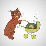 Cat shakes her stroller with a sleeping kitten. Vector illustration of hand drawn Stock Illustration