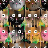 Cat shape color effect seamless pattern Stock Image