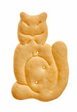 Cat shaped cracker. Isolated over white Stock Photography