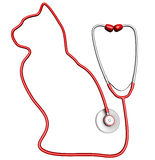 Cat-shaped stethoscope. Pet health care concept Stock Images