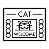 Cat shelter simple vector icon. Black and white illustration of house for Homeless cats. Outline linear icon. Stock Image