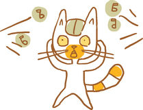 Cat Shocked due Ambient Noise. Vector Illustration. Part of a Series Stock Photos