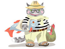 Cat shopping. Funny striped cat make shopping, cartoon character Stock Images