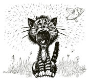 Cat shouting (vector) Royalty Free Stock Photos