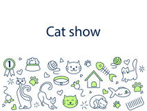 Cat show banner vector illustration. Icons line art set Royalty Free Stock Photos
