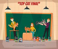 Car Show Final Poster. Cat show final retro cartoon poster with 3 top competitors and their happy owners onstage vector illustration Stock Image