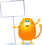 Cat with sign. Fat cat with blank sign vector illustration