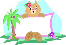 Cat Sign with Palm and Flowers Royalty Free Stock Image