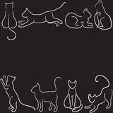 Cat silhouette border. Black background with cat silhouette border Royalty Free Stock Photos