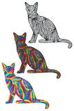 Cat silhouette colorful color Royalty Free Stock Photography