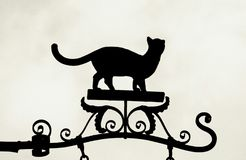 Cat silhouette. Grainy black and white picture of old street sign of cat silhouette Royalty Free Stock Images