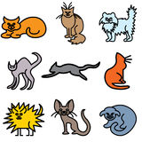 Cat silhouette icons Stock Photography