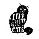 Cat Silhouette L'illustrazione di vettore della siluetta sveglia del gatto con la casa di citazione è dove il vostro gatto è Fotografia Stock Libera da Diritti