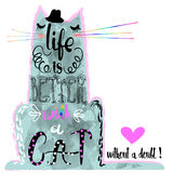 Cat silhouette with lettering Stock Photo