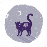 Cat silhouette night Royalty Free Stock Image