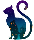 Cat. Silhouette of a cat with night town and stars on a white background. moonlight, bright colors, illustration royalty free illustration
