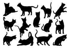Cat Silhouette Pet Animals Set illustration stock