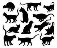 Cat Silhouette Pet Animals Set. A cat silhouettes pet animals graphics set vector illustration