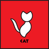 Cat silhouette on a scarlet background. Silhouette of stylized with thick lines. logo Royalty Free Stock Images