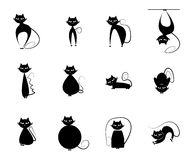 Cat Silhouette. Set of Cat Silhouette illustrations in black Stock Photography