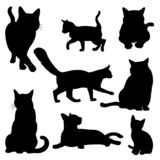 Cat silhouette set isolated on white. Cat vector silhouette set isolated on white background standing sitting lying down vector illustration