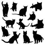 Cat silhouette set. On white background stock illustration