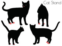 cat silhouette in Stand Pose royalty free illustration