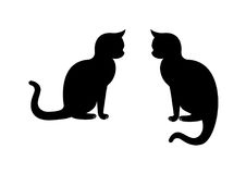 Cat Silhouette Vector Chat se reposant Photos stock