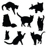 Cat silhouette vector set. Cat silhouette vector illustration set vector illustration