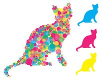 Free Cat Silhouette With Colorful Circles Stock Images - 123210624