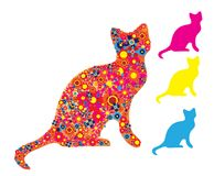 Free Cat Silhouette With Colorful Flowers Royalty Free Stock Photos - 123210708