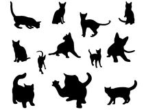 Cat silhouettes set. Set of different vector cats silhouettes royalty free illustration