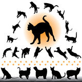 Cat silhouettes set. Playing and jumping cat silhouettes collcetion stock illustration
