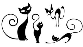 Cat silhuette clipart set Stock Photography