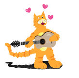 Cat singing with guitar Royalty Free Stock Photography
