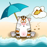 Cat sits. On the beach and dreams of fish, under an umbrella, Original postcard Royalty Free Stock Photo
