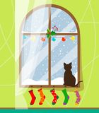 A cat sits on the windowsill by the winter and snow-covered window and looks out the window behind which it is snowing, the window stock illustration