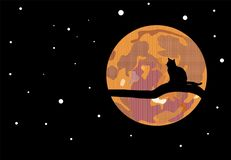 Cat sitting on a branch contemplating a particular moon stock illustration