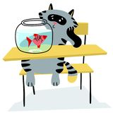 Cat sitting on the chair and looking on the fish in the aquarium. Cartoon feline character. Vector illustration Stock Image