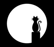 Cat sitting on chimney and looks at the moon Stock Image