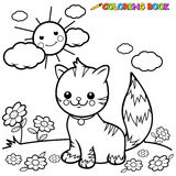 Cat sitting on grass coloring book page Royalty Free Stock Images
