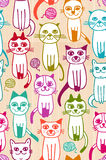 Cat skein seamless pattern vector illustration