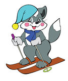 Cat skier Stock Images