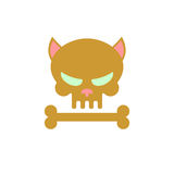 Cat skull with bones. Head skeleton of a kitty. Logo, emblem for Stock Photography