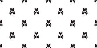 Cat Skull pirate seamless pattern cross bone Halloween isolated wallpaper background Vector Illustration
